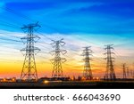high voltage post high voltage... | Shutterstock . vector #666043690
