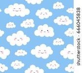 cute cloud seamless pattern... | Shutterstock .eps vector #666045838