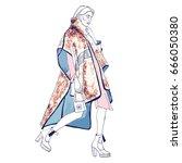 fashion model. sketch.... | Shutterstock .eps vector #666050380