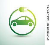 electric car concept green... | Shutterstock .eps vector #666059758