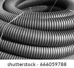 coiled black corrugated...   Shutterstock . vector #666059788
