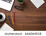 wood office desk table with...   Shutterstock . vector #666064018