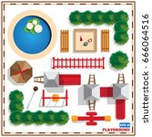 a set of playground elements.... | Shutterstock .eps vector #666064516