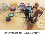 image of makeup cosmetics... | Shutterstock . vector #666069844
