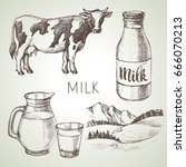 hand drawn sketch milk products ... | Shutterstock .eps vector #666070213