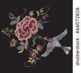 embroidery oriental floral... | Shutterstock .eps vector #666072826