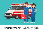 ambulance staff. couple of... | Shutterstock .eps vector #666074386