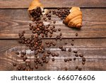 roasted coffee beans in... | Shutterstock . vector #666076606