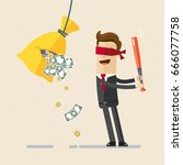business man with baseball bat... | Shutterstock .eps vector #666077758