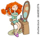 curly haired girl looks in the... | Shutterstock .eps vector #666081076