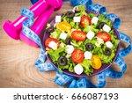 greek salad with fresh... | Shutterstock . vector #666087193