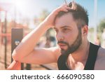 portrait of fatigued fitness... | Shutterstock . vector #666090580