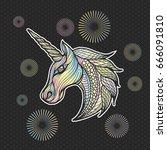 unicorn illustration vector... | Shutterstock .eps vector #666091810