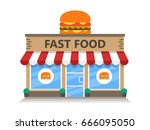 fast food building icon flat... | Shutterstock .eps vector #666095050