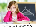 stressed and tired schoolgirl... | Shutterstock . vector #666095974
