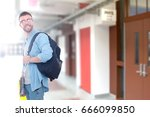 a male student with a school... | Shutterstock . vector #666099850