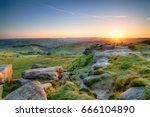Small photo of Beautiful summer sunset from the top of Higger Tor near Sheffield in the Peak District National Park