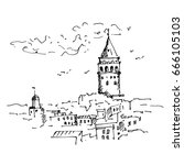 hand drawn istanbul  famous... | Shutterstock .eps vector #666105103