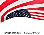 the usa flag above head happy... | Shutterstock . vector #666105970