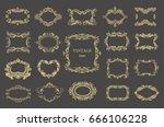 set of gold vintage floral...   Shutterstock .eps vector #666106228