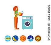 loading dirty clothes icon | Shutterstock .eps vector #666110008
