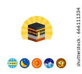kaaba in mecca icon | Shutterstock .eps vector #666111334