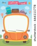 vector graphic of orange car... | Shutterstock .eps vector #666111778