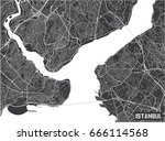 minimalistic istanbul city map... | Shutterstock .eps vector #666114568