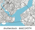 black and white vector city map ... | Shutterstock .eps vector #666114574