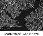 black and white vector city map ... | Shutterstock .eps vector #666114598