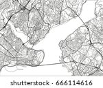 black and white vector city map ... | Shutterstock .eps vector #666114616