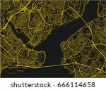 black and yellow vector city... | Shutterstock .eps vector #666114658