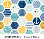 seamless pattern with nautical... | Shutterstock .eps vector #666115018