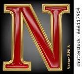 vector letter n from gold solid ... | Shutterstock .eps vector #666117904