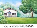 watercolor illustration of the... | Shutterstock . vector #666118840