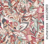 tracery seamless pattern.... | Shutterstock .eps vector #666120853