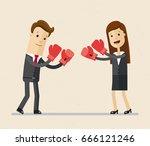 business man in boxing gloves...   Shutterstock .eps vector #666121246