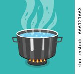 boiling water in pan. cooking... | Shutterstock .eps vector #666121663