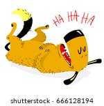 laughing dog. the dog laughs... | Shutterstock .eps vector #666128194