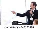business speaker giving a... | Shutterstock . vector #666133984