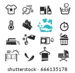 washing icon set concept.... | Shutterstock .eps vector #666135178