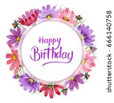 wildflower kosmeya flower frame ...   Shutterstock . vector #666140758