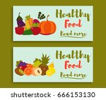 fruits and vegetables. healthy... | Shutterstock .eps vector #666153130