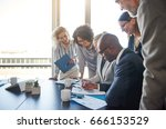 group of diverse businesspeople ... | Shutterstock . vector #666153529