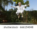 cheerful senior woman with... | Shutterstock . vector #666154048