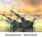 sinking ship - stock photo