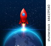 space red rocket launch... | Shutterstock .eps vector #666159160