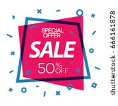 sale banner red color with cyan ... | Shutterstock .eps vector #666161878