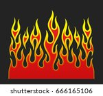 fire flames  red and yellow... | Shutterstock .eps vector #666165106