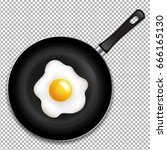 frying pan with fried eggs... | Shutterstock .eps vector #666165130